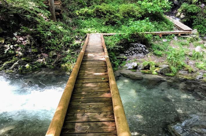 竜神の滝への木の橋