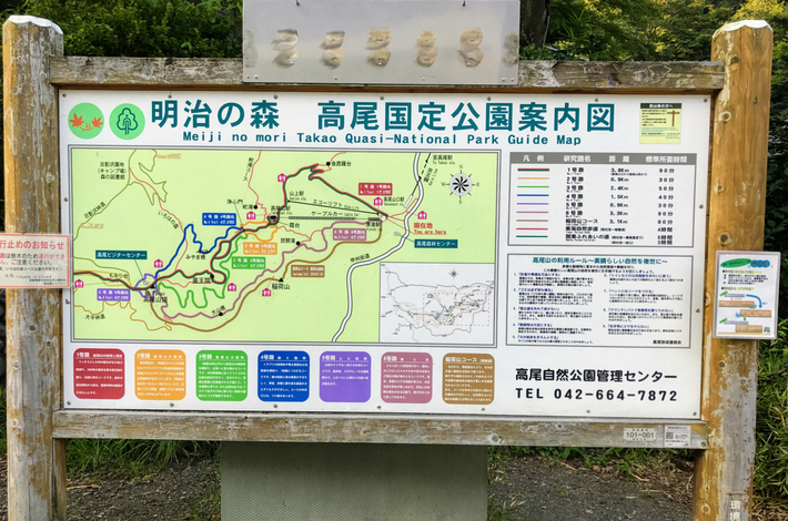 高尾山のコースの看板