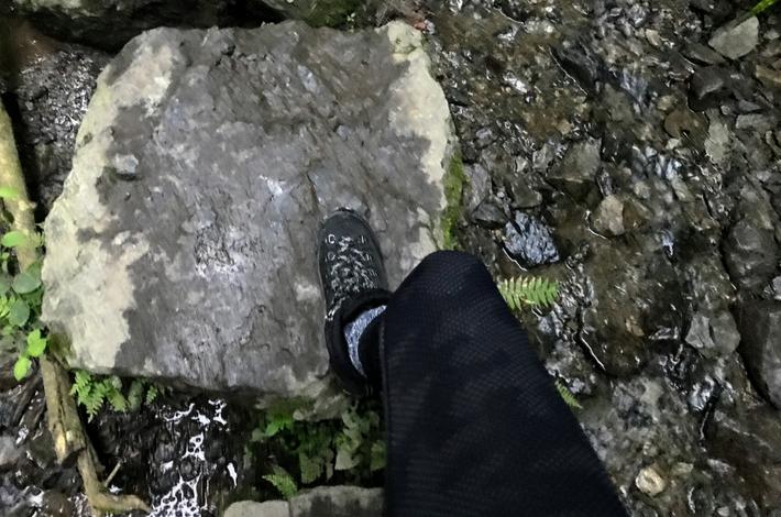 6号路の飛び石を歩く足
