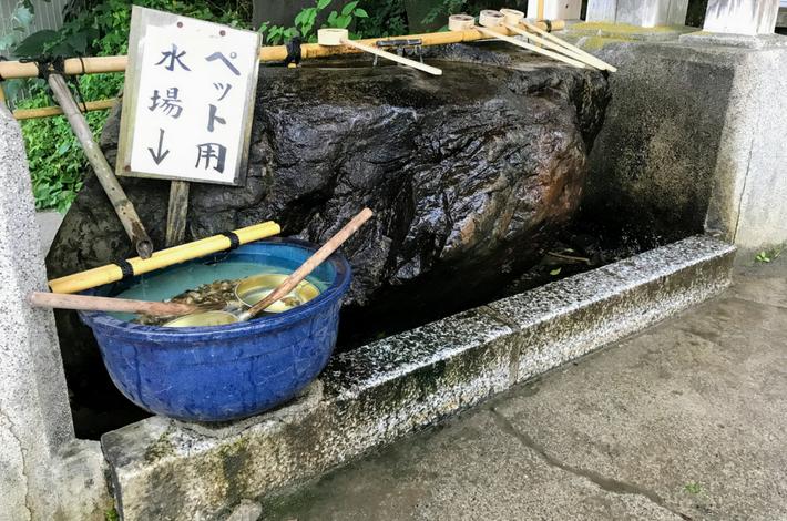 御岳山 神社の手洗い場に犬用も