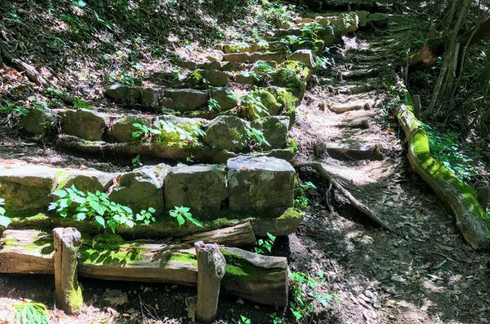 檜原都民の森鞘口峠までの石の階段