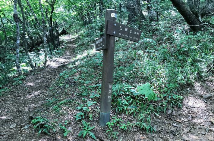 三頭山西峰への道標