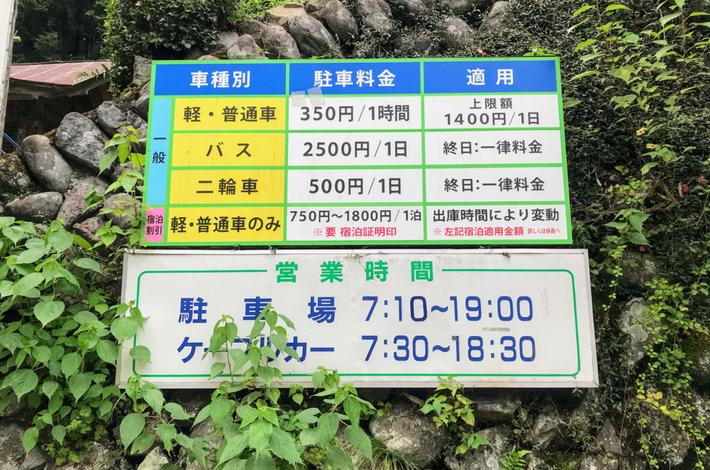 滝本駅に一番近い駐車場の料金表