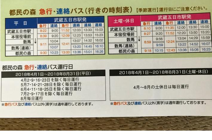 西東京バスのバス発車予定時刻表 行き