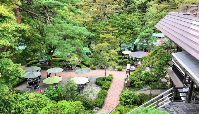清流ガーデン 澤乃井園を上から見下ろした景色