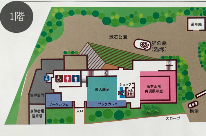 漱石山房記念館のパンフレットに記載されている1Fのマップ拡大図