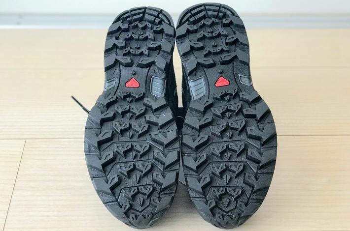 登山靴サロモン X ULTRA 3 PRIME GTXの裏底の全体像