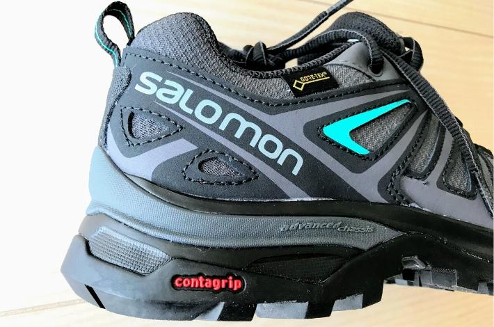 登山靴サロモン X ULTRA 3 PRIME ヒール部分のアップ