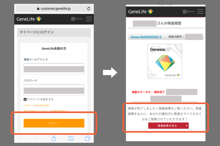 GeneLifeGenesis2.0(ジーンライフ ジェネシス2.0)の遺伝子検査キットでの結果が出たとメールが来たあと、webでログインする画面